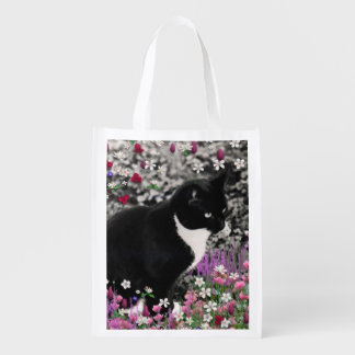 Freckles in Flowers II, Black and White Tuxedo Cat Reusable Grocery Bag