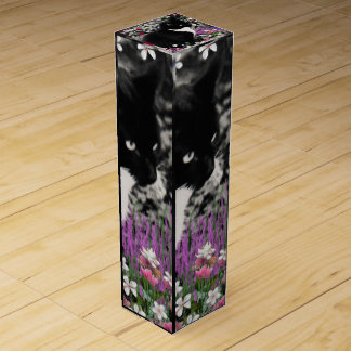 Freckles in Flowers II, Black and White Tuxedo Cat Wine Gift Box
