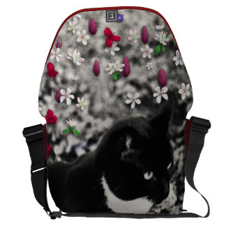 Freckles in Flowers II - Black White Tux Kitty Cat Courier Bag