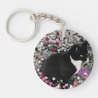 Freckles in Flowers II - Black White Tux Kitty Cat Key Chain