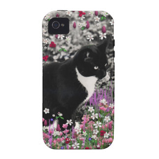 Freckles in Flowers II - Black White Tuxedo Cat Vibe iPhone 4 Cases