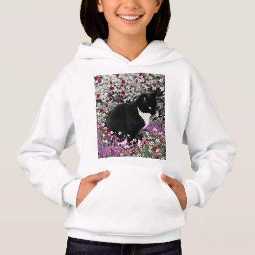 Freckles in Flowers II, Black White Tuxedo Cat Hoodie