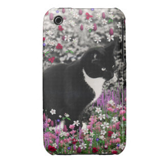 Freckles in Flowers II - Black White Tuxedo Cat iPhone 3 Cover