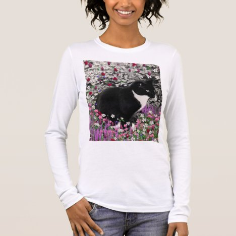 Freckles in Flowers II, Black White Tuxedo Cat Long Sleeve T-Shirt