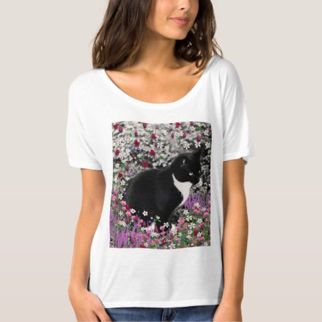 Freckles in Flowers II, Black White Tuxedo Cat T-Shirt