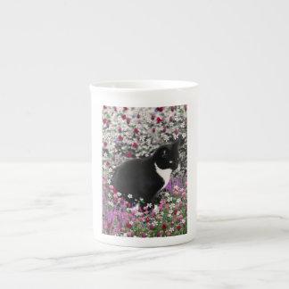 Freckles in Flowers II - Black White Tuxedo Cat Tea Cup