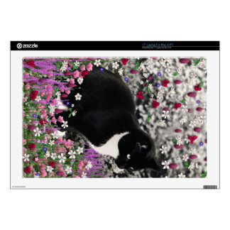 "Freckles in Flowers II - Black White Tuxedo Kitty 17"" Laptop Decal"