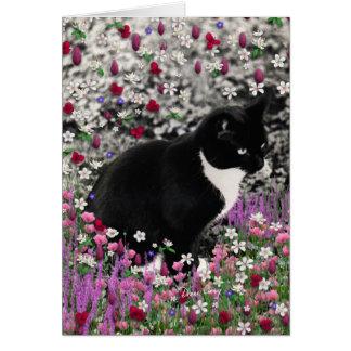 Freckles in Flowers II - Black White Tuxedo Kitty Card