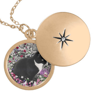Freckles in Flowers II - Black White Tuxedo Kitty Gold Plated Necklace