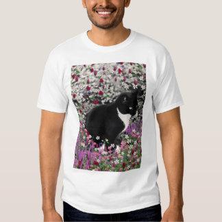 Freckles in Flowers II - Black White Tuxedo Kitty T-shirt