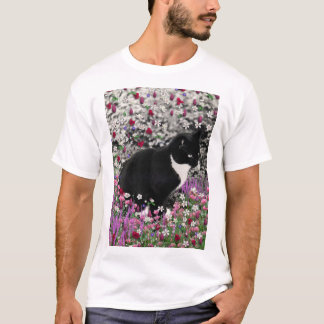 Freckles in Flowers II - Black White Tuxedo Kitty T-Shirt