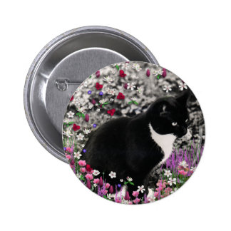 Freckles in Flowers II Button - Tux Cat