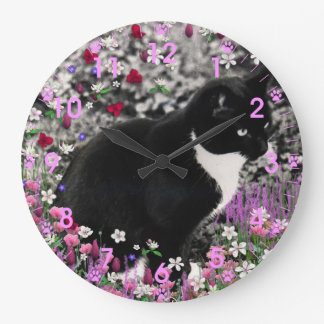 Freckles in Flowers II - Tux Cat Large Clock