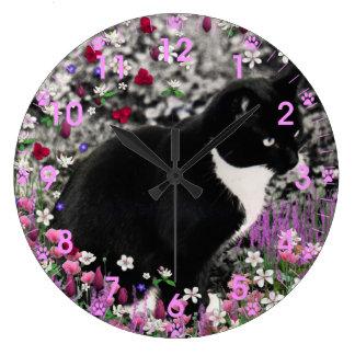 Freckles in Flowers II - Tux Cat Wall Clocks
