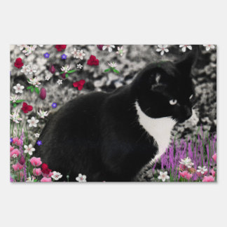 Freckles in Flowers II - Tux Cat Yard Sign
