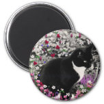 Freckles in Flowers II - Tux Kitty Cat 2 Inch Round Magnet
