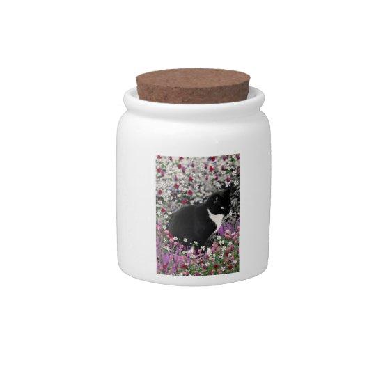 Freckles in Flowers II - Tux Kitty Cat Candy Jar