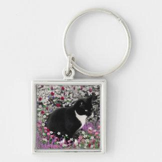 Freckles in Flowers II - Tux Kitty Cat Keychain