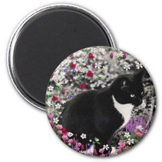 Freckles in Flowers II - Tux Kitty Cat Magnet
