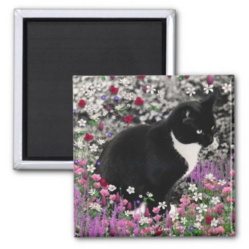 Freckles in Flowers II - Tux Kitty Cat Magnet
