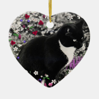 Freckles in Flowers II - Tux Kitty Cat Christmas Tree Ornament