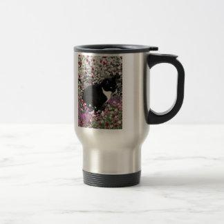 Freckles in Flowers II - Tux Kitty Cat Travel Mug