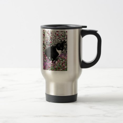 Freckles in Flowers II - Tux Kitty Cat Travel Mug