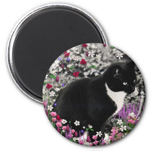 Freckles in Flowers II - Tuxedo Cat 2 Inch Round Magnet