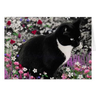 Freckles in Flowers II - Tuxedo Cat Card