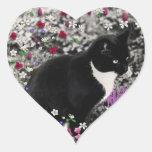 Freckles in Flowers II - Tuxedo Cat Heart Sticker