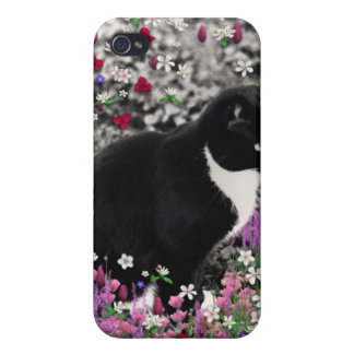 Freckles in Flowers II - Tuxedo Cat Covers For iPhone 4