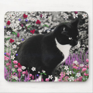 Freckles in Flowers II - Tuxedo Cat Mouse Pad