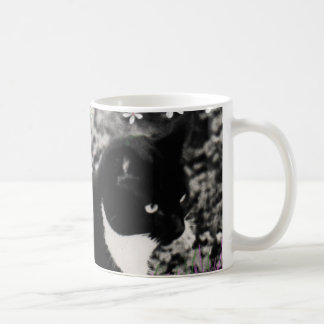 Freckles in Flowers II - Tuxedo Cat Classic White Coffee Mug