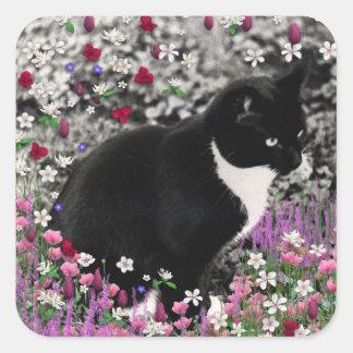 Freckles in Flowers II - Tuxedo Cat Square Sticker