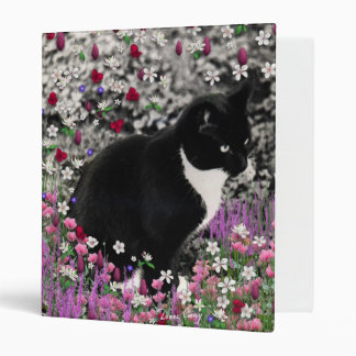 Freckles in Flowers II - Tuxedo Kitty Cat 3 Ring Binder