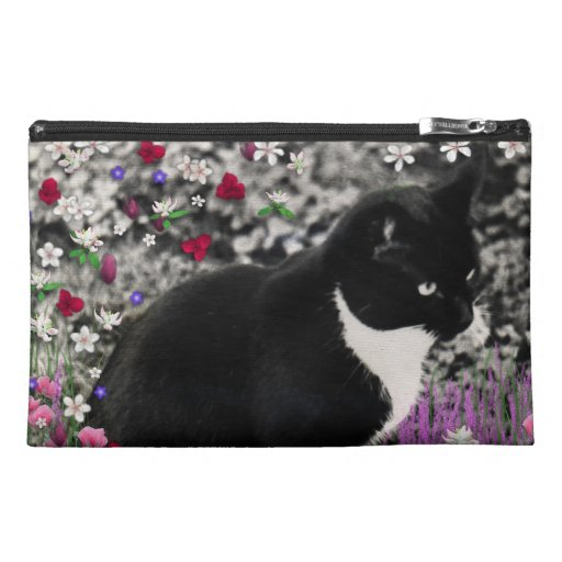Freckles in Flowers II - Tuxedo Kitty Cat Travel Accessories Bags