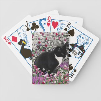 Freckles in Flowers II - Tuxedo Kitty Cat Bicycle Playing Cards