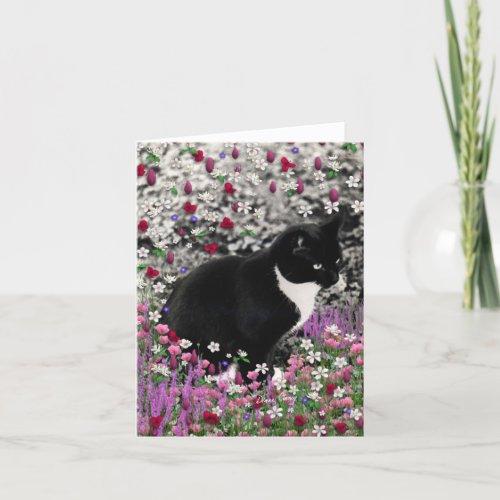 Freckles in Flowers II - Tuxedo Kitty Cat Card