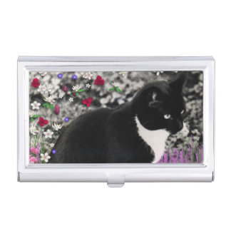 Freckles in Flowers II, Tuxedo Kitty Cat Case For Business Cards