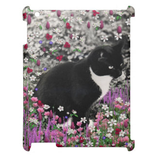 Freckles in Flowers II - Tuxedo Kitty Cat Case For The iPad