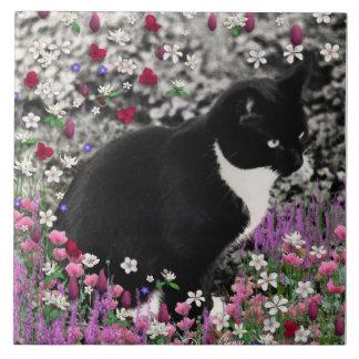 Freckles in Flowers II - Tuxedo Kitty Cat Ceramic Tile
