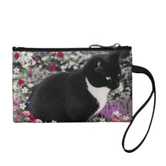 Freckles in Flowers II - Tuxedo Kitty Cat Change Purse
