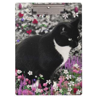 Freckles in Flowers II, Tuxedo Kitty Cat Clipboard
