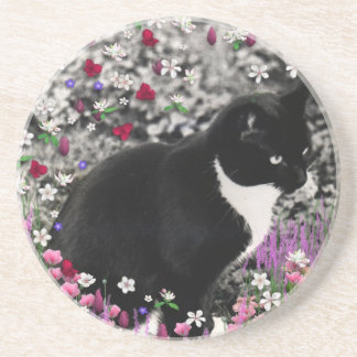 Freckles in Flowers II - Tuxedo Kitty Cat Coaster