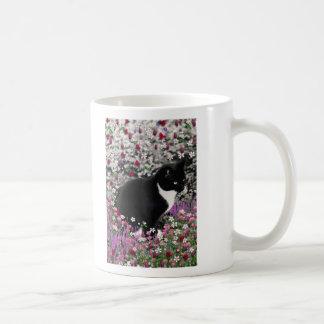 Freckles in Flowers II - Tuxedo Kitty Cat Coffee Mug