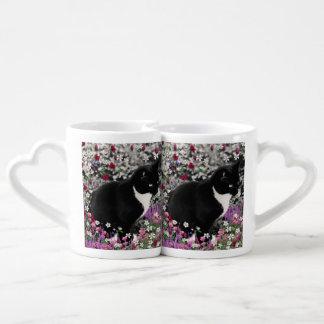 Freckles in Flowers II, Tuxedo Kitty Cat Coffee Mug Set