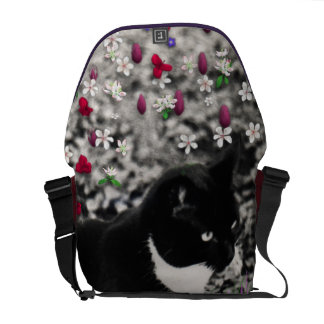 Freckles in Flowers II - Tuxedo Kitty Cat Courier Bag