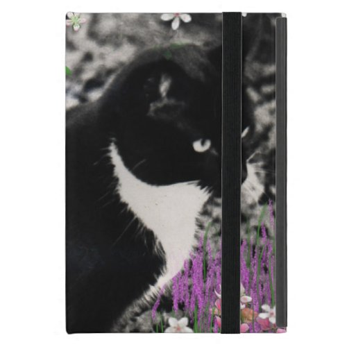 Freckles in Flowers II - Tuxedo Kitty Cat Cover For iPad Mini