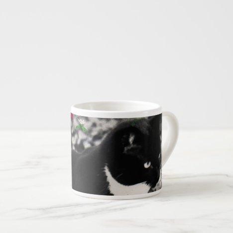 Freckles in Flowers II - Tuxedo Kitty Cat Espresso Cup