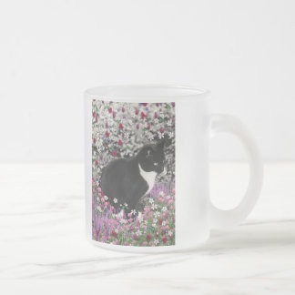 Freckles in Flowers II - Tuxedo Kitty Cat Frosted Glass Coffee Mug